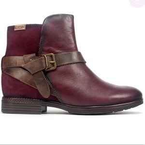 Pikolinos Ordino Buckle Booties in Garnet